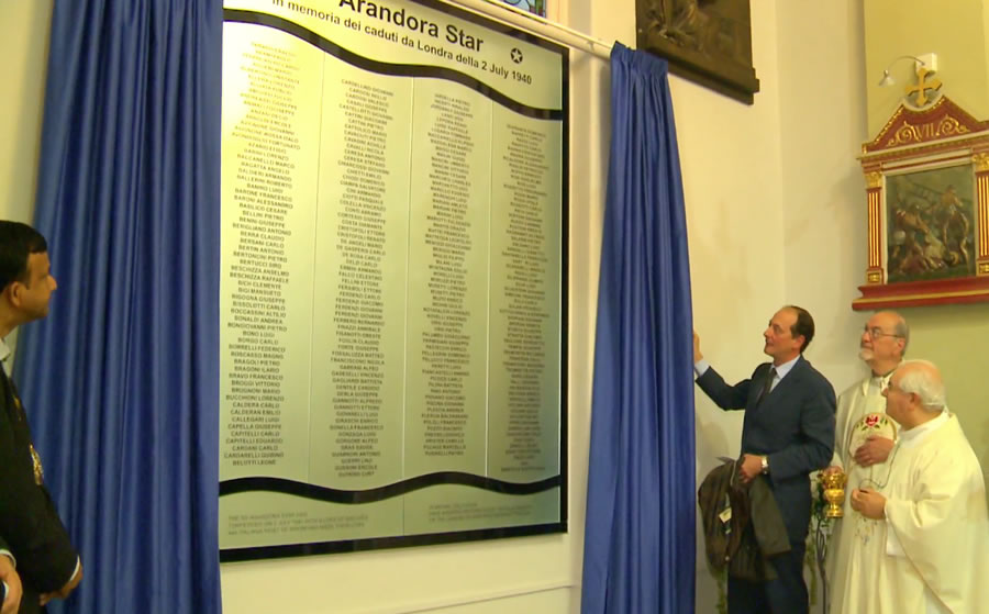 The Arandora Star memorial being unveiled in St Peter's Church, Clerkenwell, on 2nd July 2012