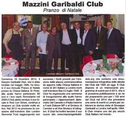La Notizia review:  Mazzinig-Garibaldi Club Christmas Lunch 2012