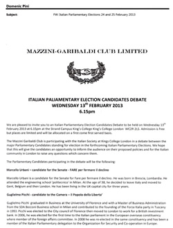 Click here for details of the Italian parliamentary election candidates' debate in February 2013